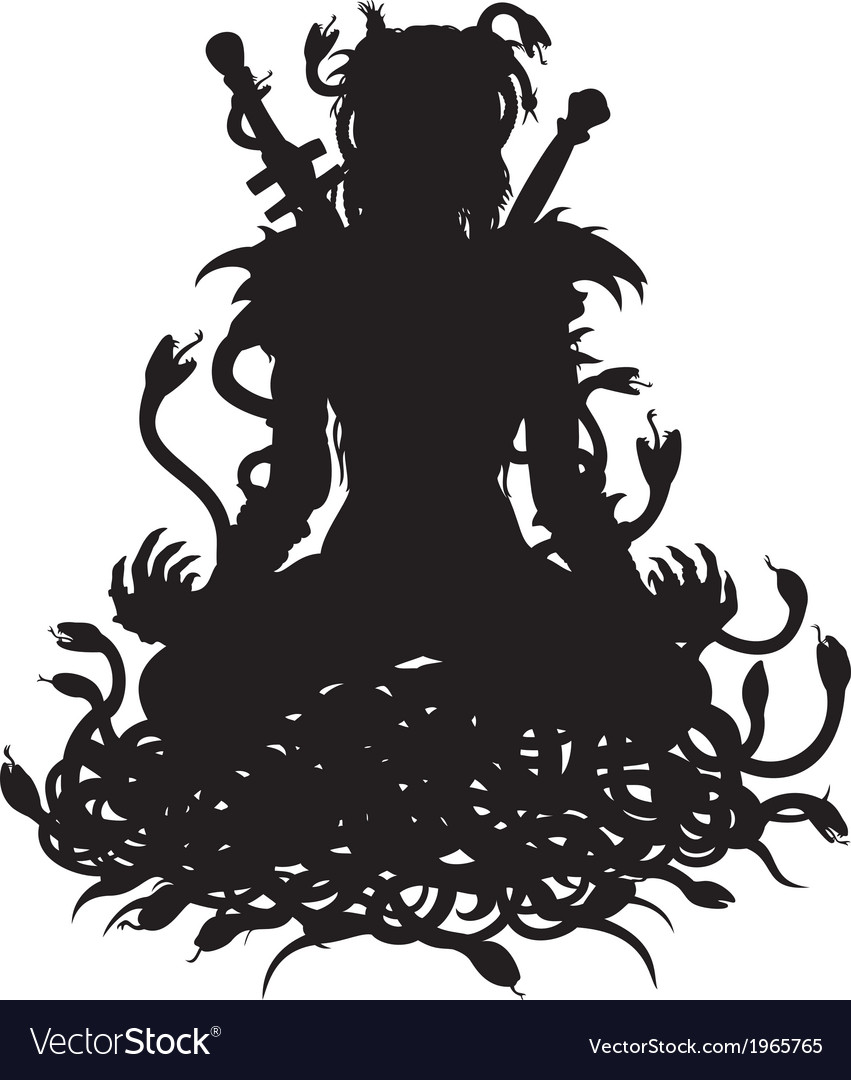 Silhouette of warrior woman in lotus with snakes vector | Price: 1 Credit (USD $1)