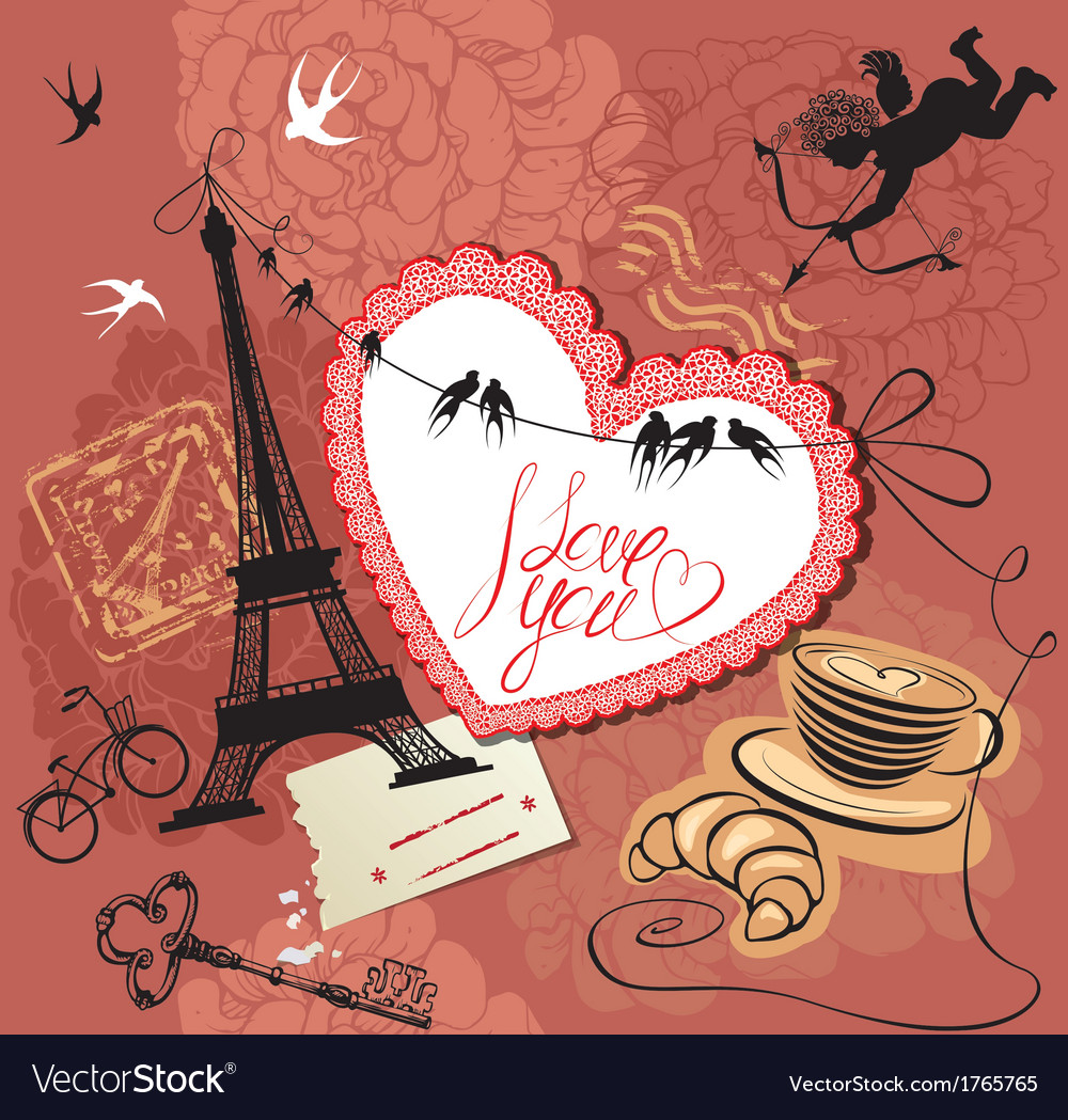 Vintage valentines day postcard with paris theme vector | Price: 1 Credit (USD $1)