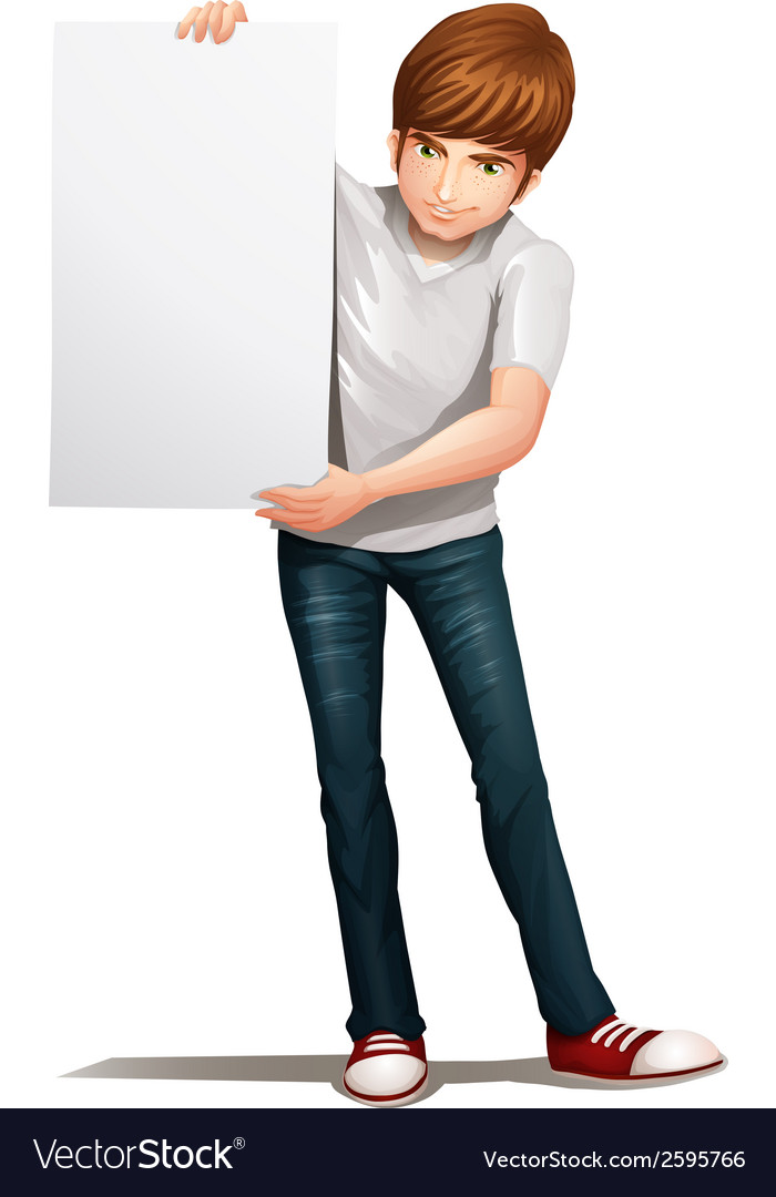 A handsome young man holding an empty signboard vector | Price: 1 Credit (USD $1)