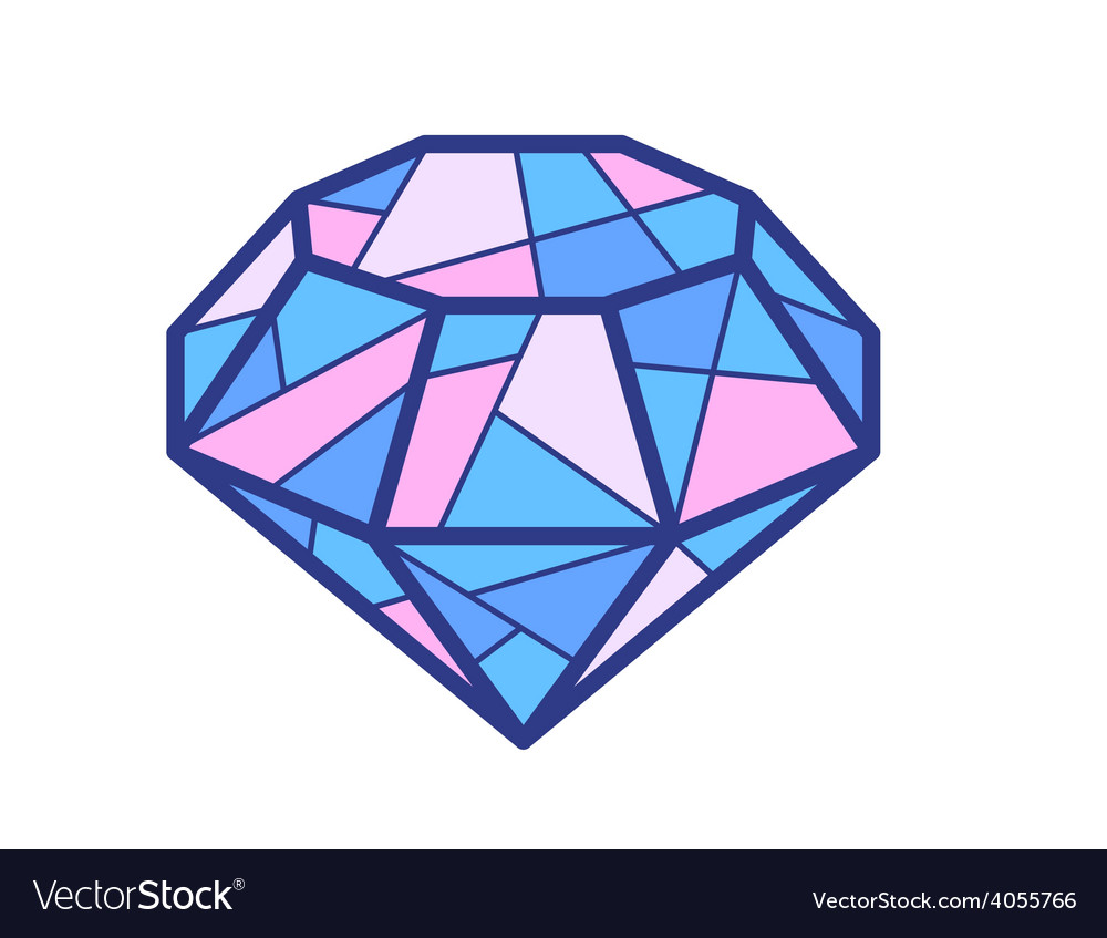 Blue and pink diamond on white background vector | Price: 1 Credit (USD $1)