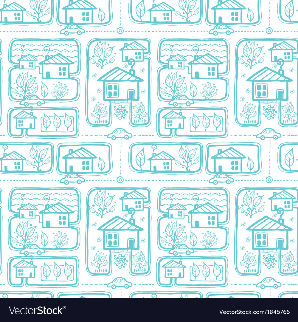 Doodle town streets seamless pattern background vector | Price: 1 Credit (USD $1)
