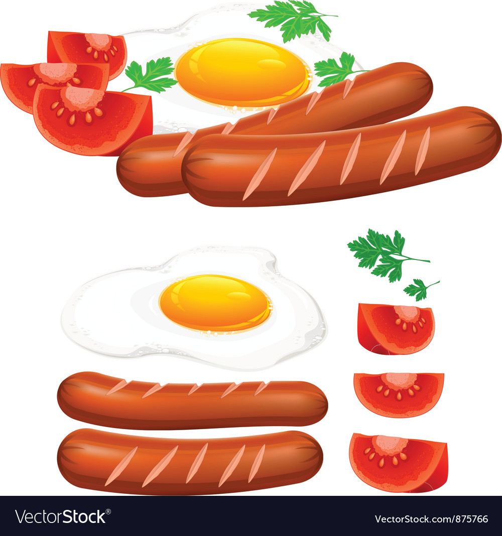 Egg sausage tomato vector | Price: 1 Credit (USD $1)