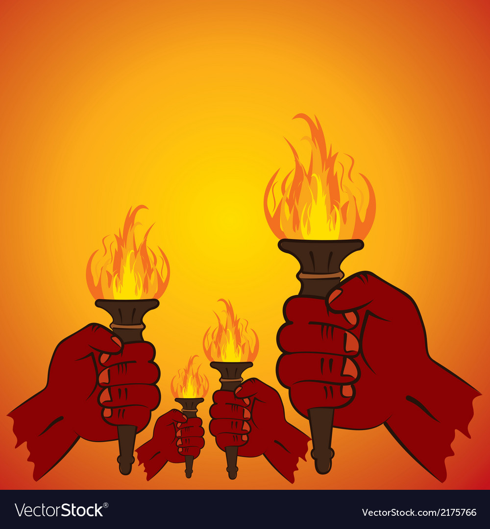 Fire torch in every hand vector | Price: 1 Credit (USD $1)