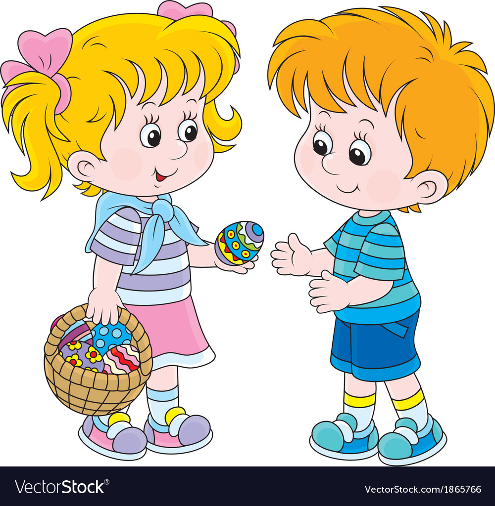 Girl and boy on easter day vector | Price: 1 Credit (USD $1)