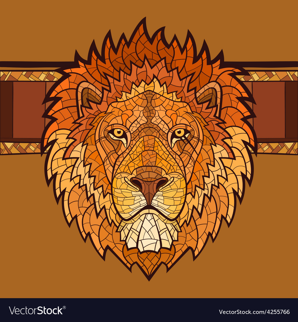 Lion head with ethnic ornament vector | Price: 1 Credit (USD $1)