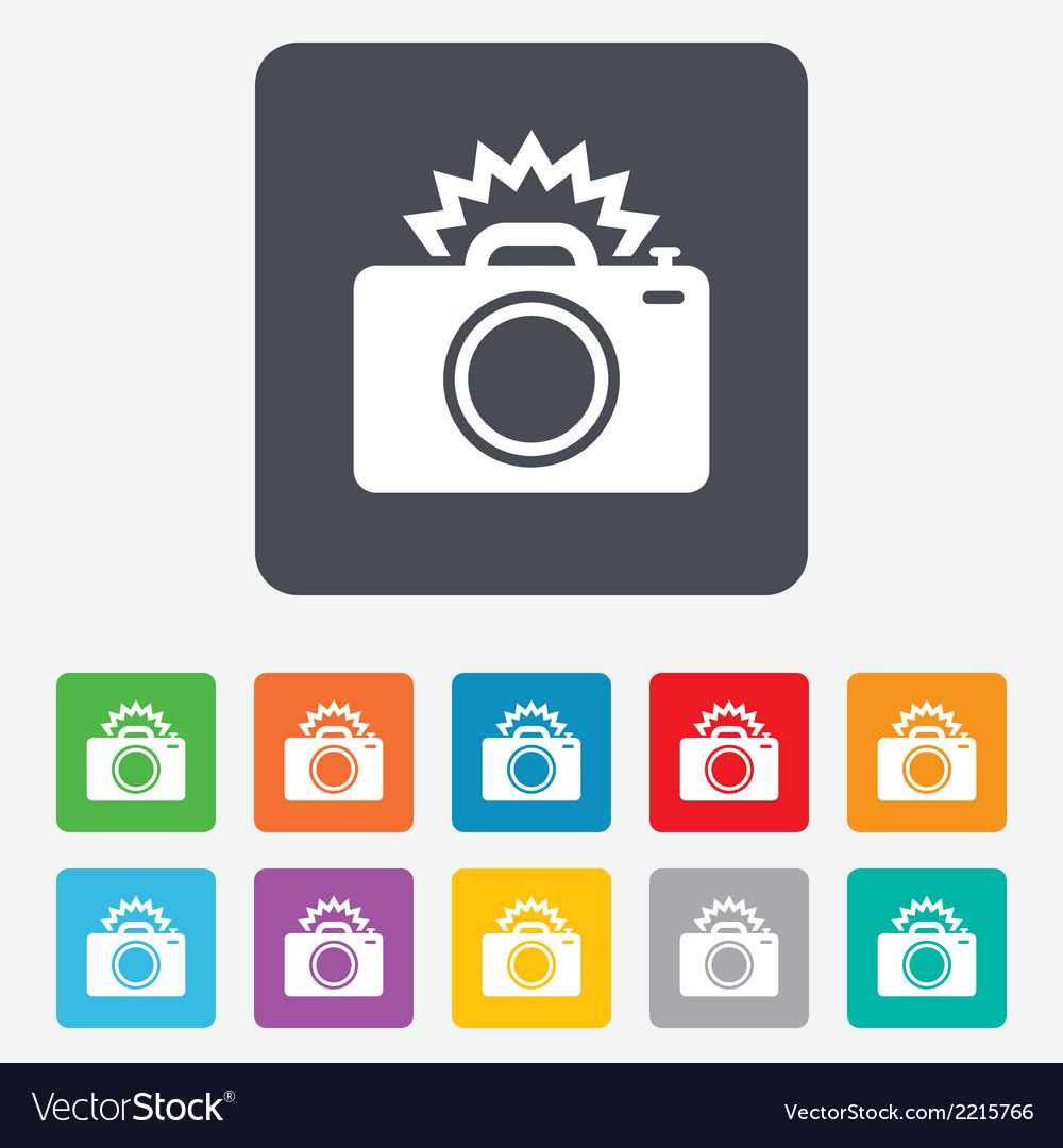 Photo camera sign icon photo flash symbol vector | Price: 1 Credit (USD $1)
