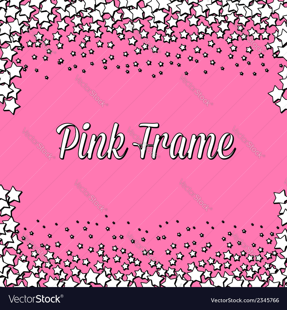 Pink frame with white stars vector | Price: 1 Credit (USD $1)