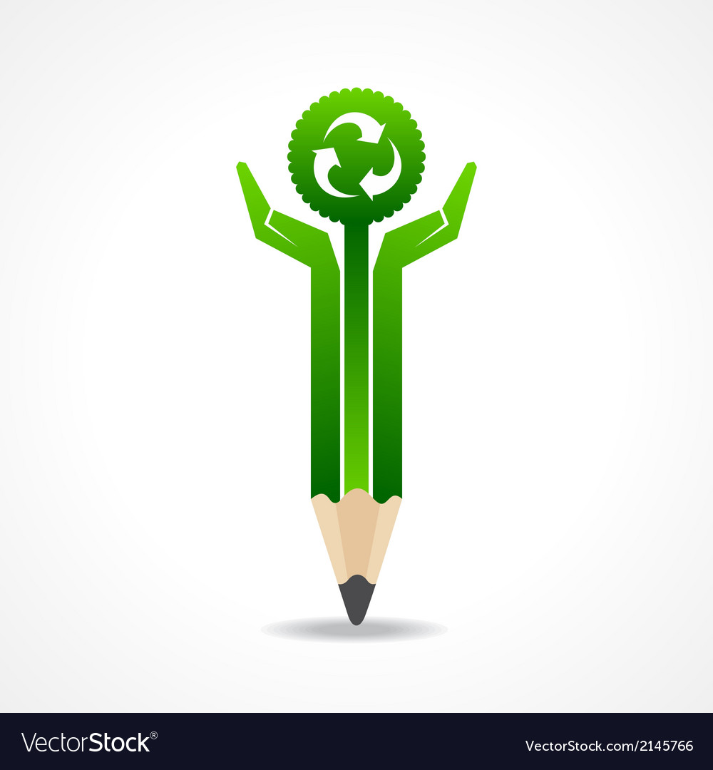 Save nature concept with pencil hands vector | Price: 1 Credit (USD $1)