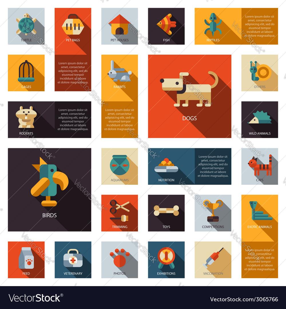 Set of flat design pet shop icons vector | Price: 1 Credit (USD $1)