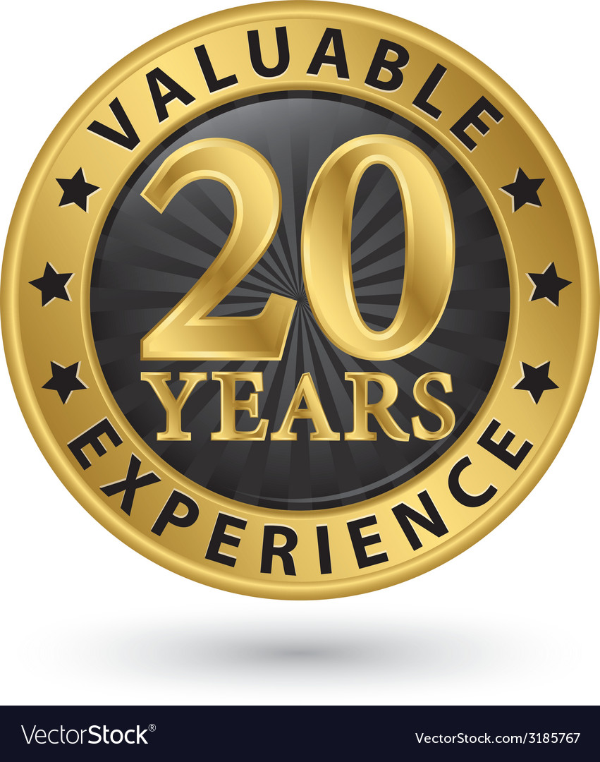20 years valuable experience gold label vector | Price: 1 Credit (USD $1)