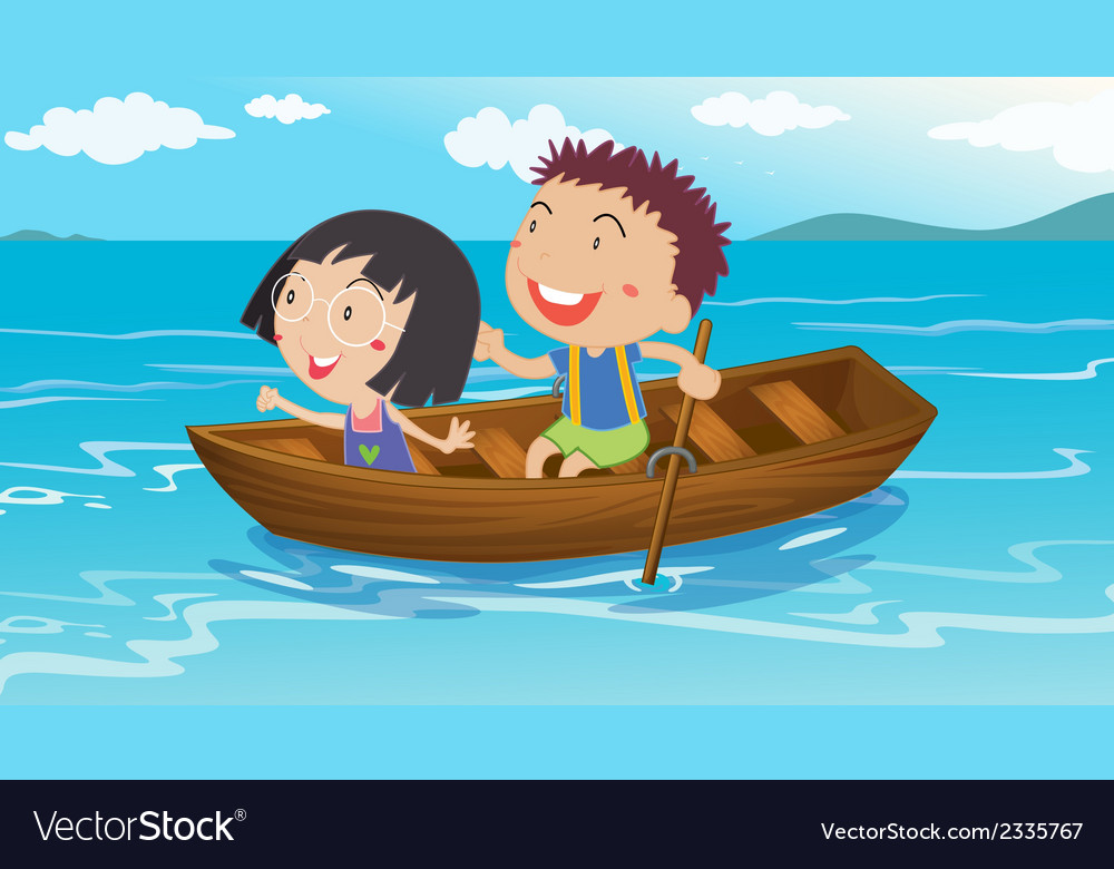A boy and a girl boating vector | Price: 1 Credit (USD $1)