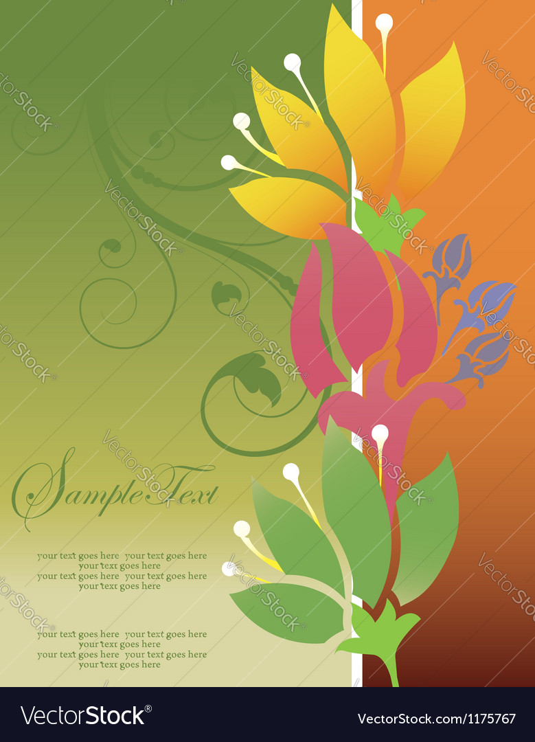 Abstract floral invitation card vector | Price: 1 Credit (USD $1)