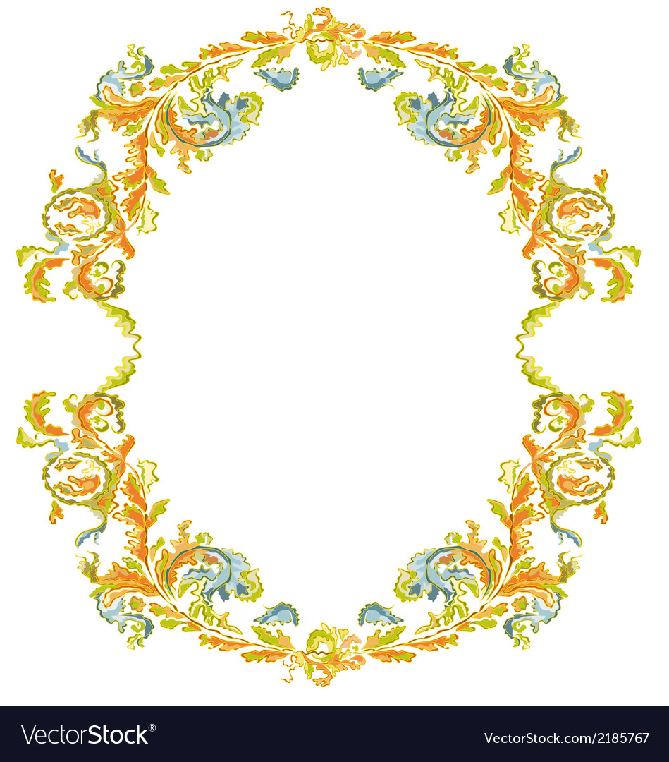 Decorative round frame ornamental floral vintage vector | Price: 1 Credit (USD $1)