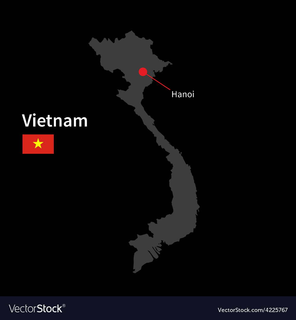 Detailed map of vietnam and capital city hanoi vector | Price: 1 Credit (USD $1)