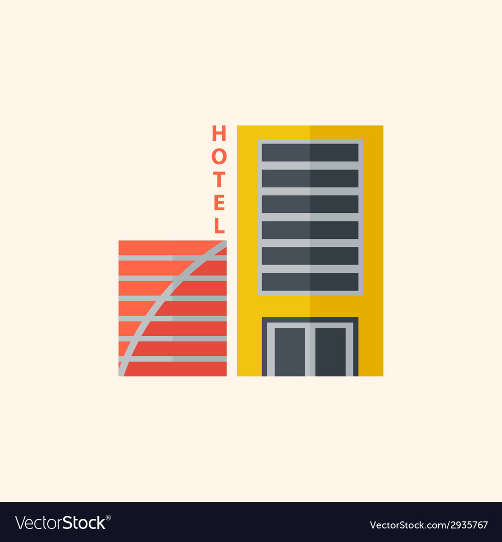 Hotel travel flat icon vector | Price: 1 Credit (USD $1)