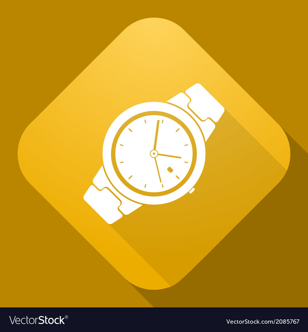 Icon of watch with a long shadow vector | Price: 1 Credit (USD $1)