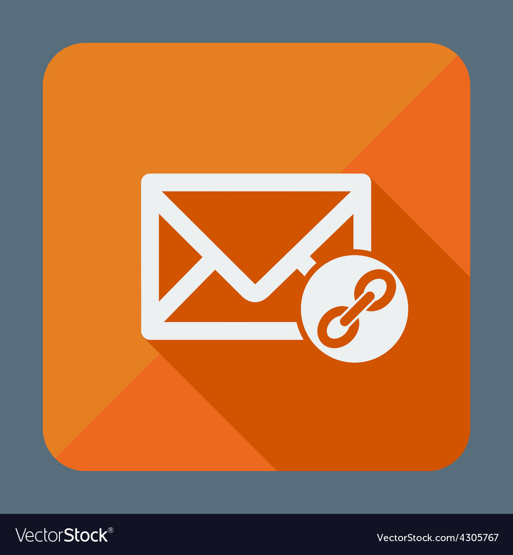 Mail icon envelope with chain flat design vector | Price: 1 Credit (USD $1)