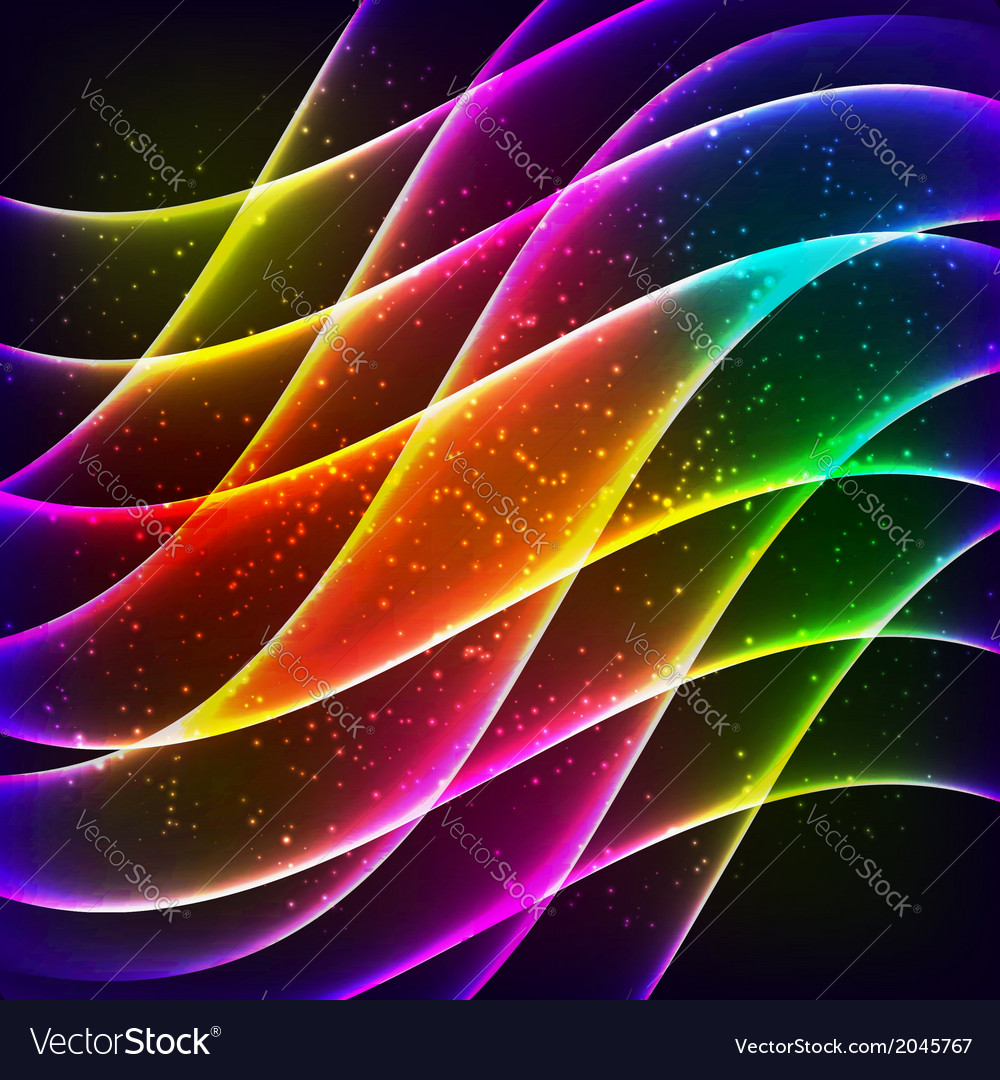 Neon rainbow waves background vector | Price: 1 Credit (USD $1)
