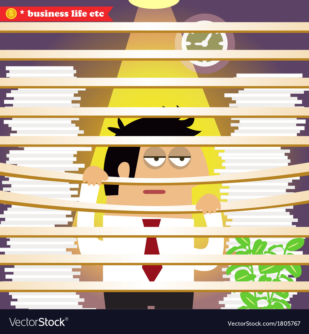 Stressed and exhausted manager bored at the office vector   Price: 1 Credit (USD $1)