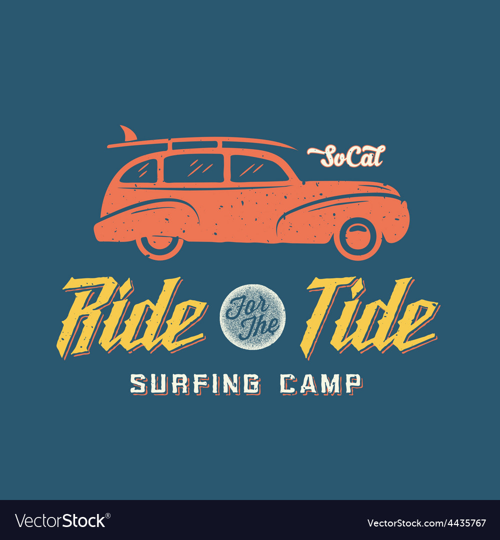 Surfing woodie car retro style label or logo vector | Price: 1 Credit (USD $1)
