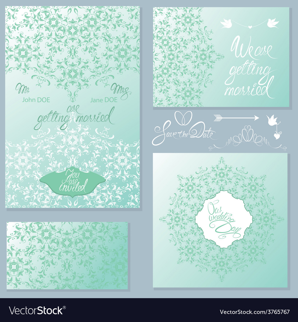 Wedding invitation set 2 380 vector | Price: 1 Credit (USD $1)