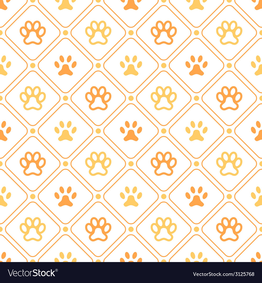 Animal seamless pattern of paw footprint line and vector | Price: 1 Credit (USD $1)