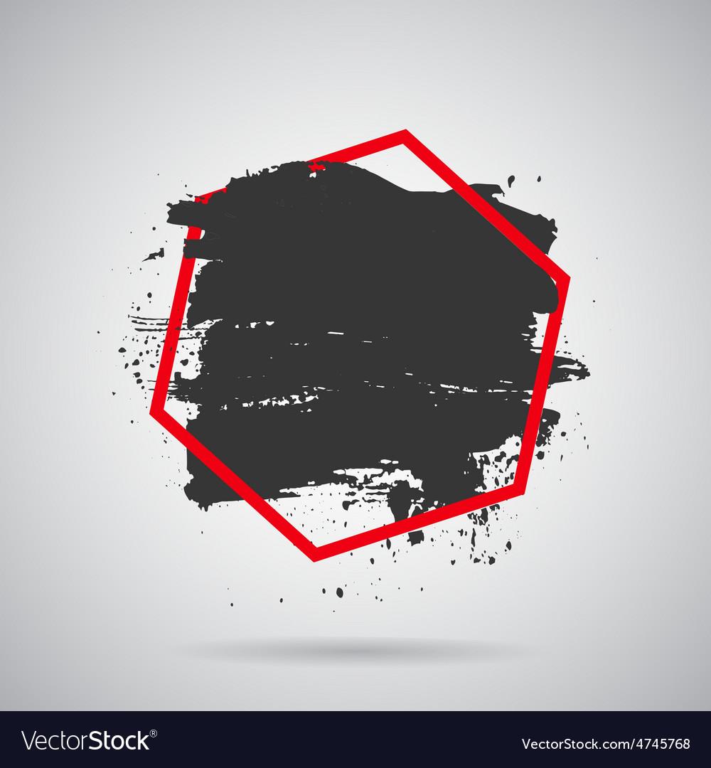 Black grunge splash in red frame modern vector | Price: 1 Credit (USD $1)