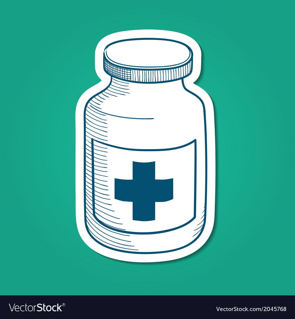 Bottle with medical cross sign vector | Price: 1 Credit (USD $1)