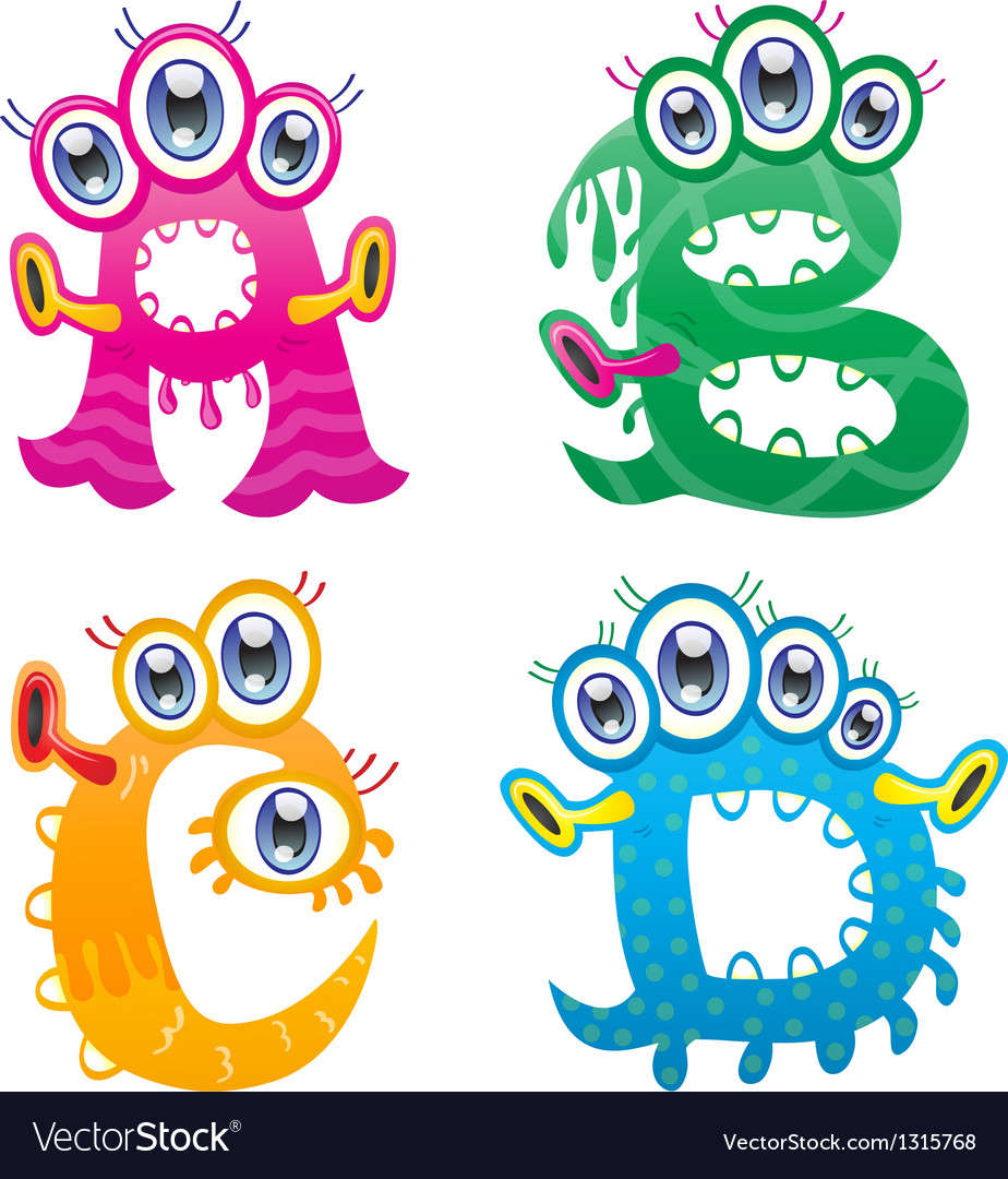 Cartoon monster letters from a to d vector | Price: 1 Credit (USD $1)