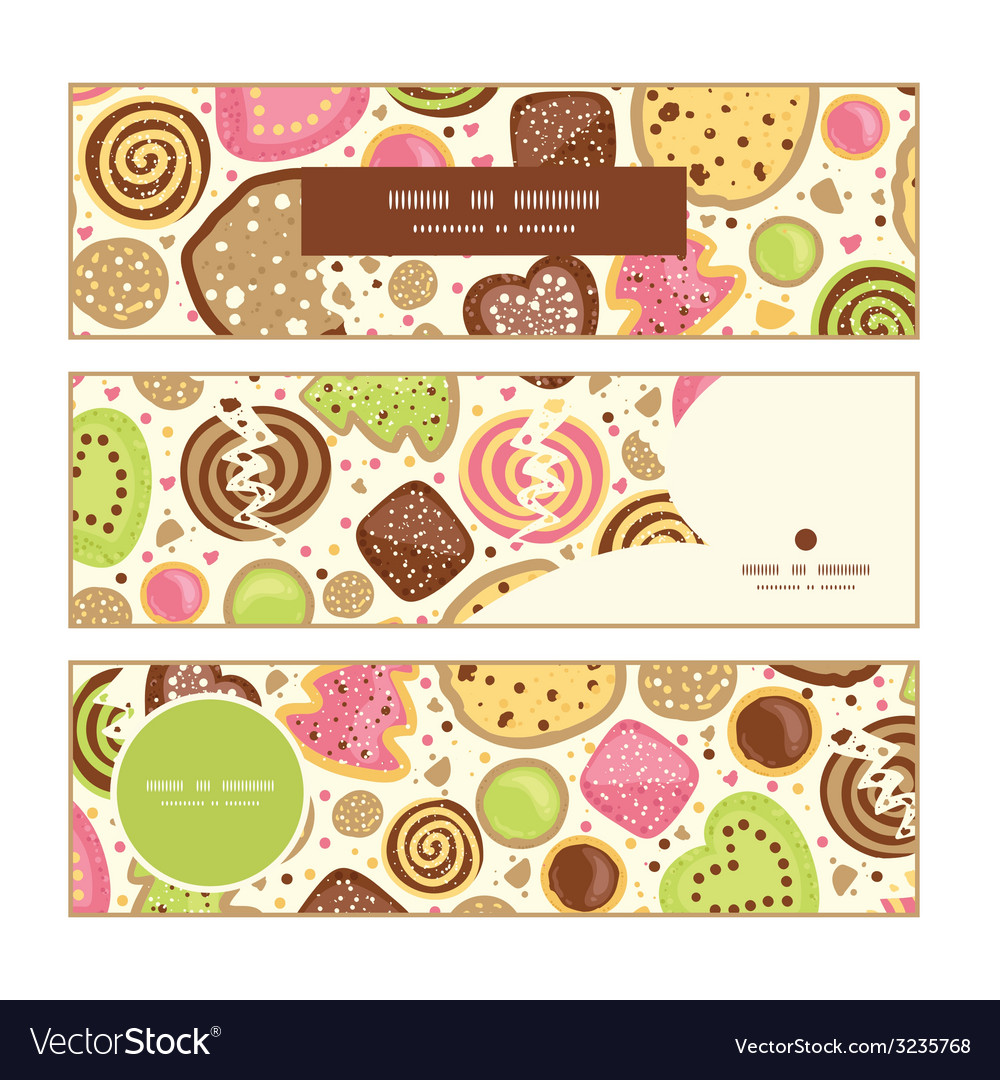 Colorful cookies horizontal banners set pattern vector | Price: 1 Credit (USD $1)