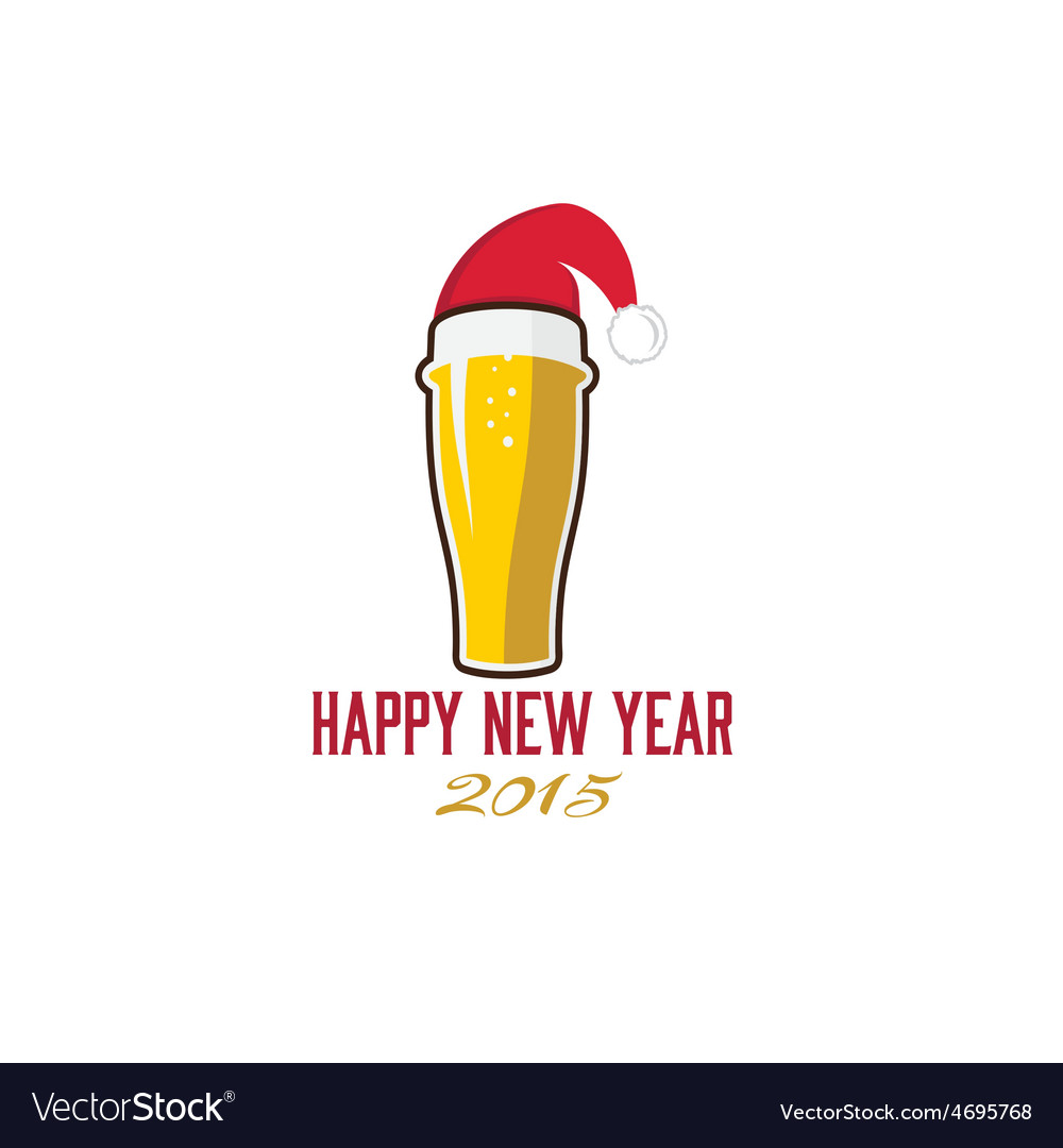Glass of beer in merry christmas hat vector | Price: 1 Credit (USD $1)
