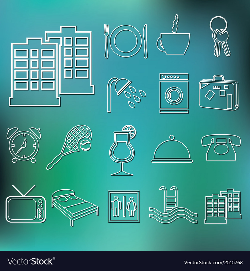 Outline hotel and accommodation icons vector | Price: 1 Credit (USD $1)