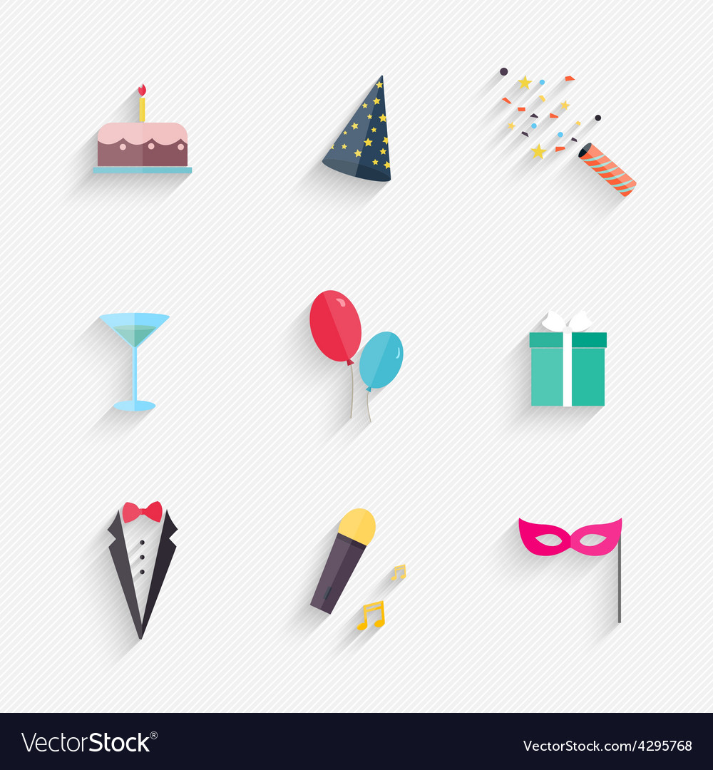 Party icons and celebration icons vector | Price: 1 Credit (USD $1)
