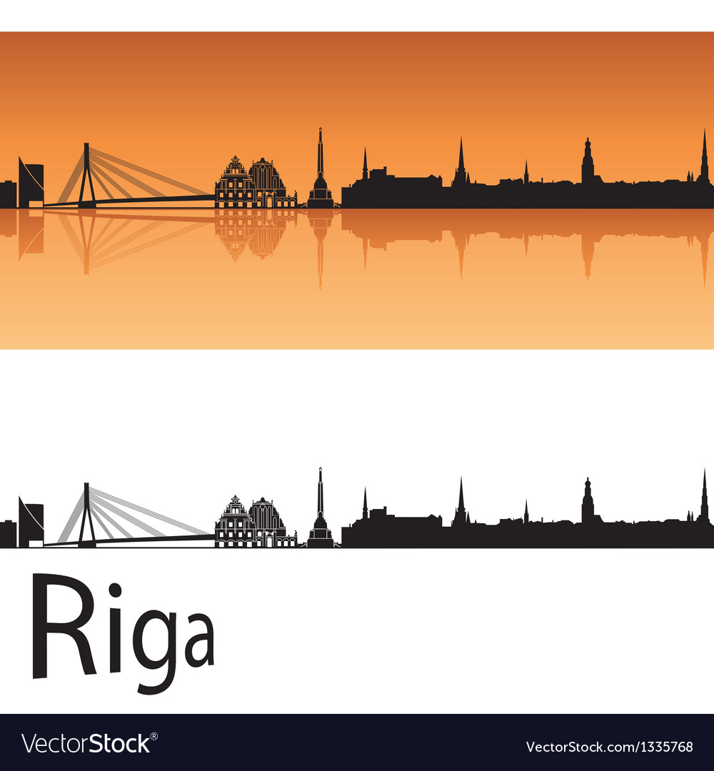 Riga skyline in orange background vector | Price: 1 Credit (USD $1)