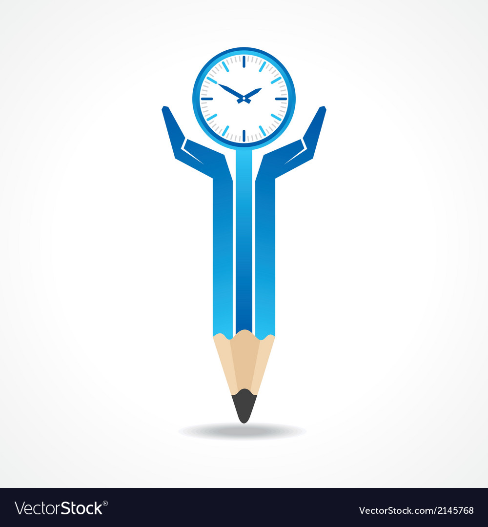 Save time concept with pencil hands vector | Price: 1 Credit (USD $1)
