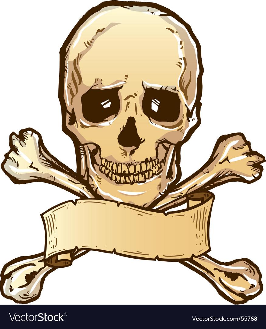 Skull crossbones banner vector | Price: 1 Credit (USD $1)