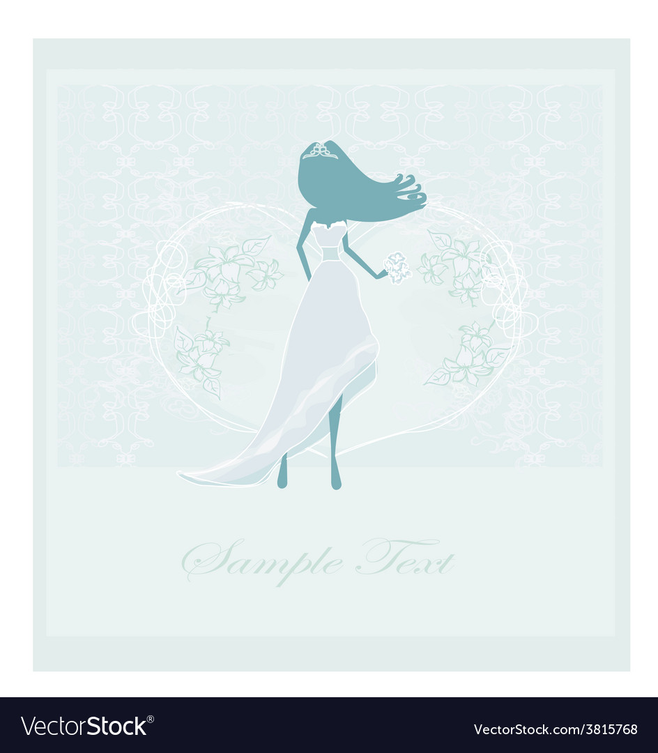 Wedding card with bride silhouette vector | Price: 1 Credit (USD $1)