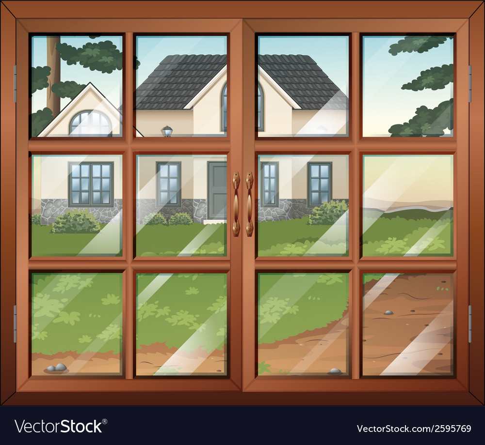 A closed window with a view of the house outside vector | Price: 3 Credit (USD $3)
