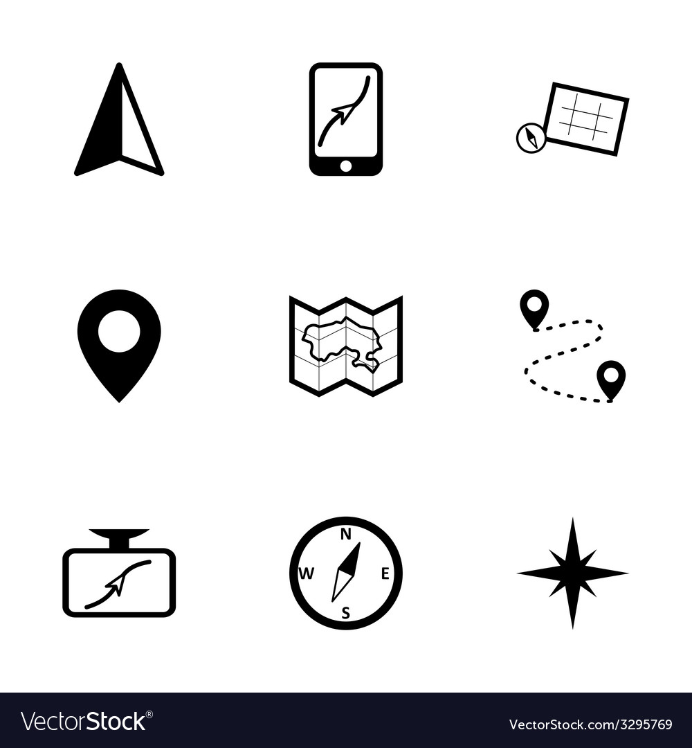 Black navigation icons set vector | Price: 1 Credit (USD $1)
