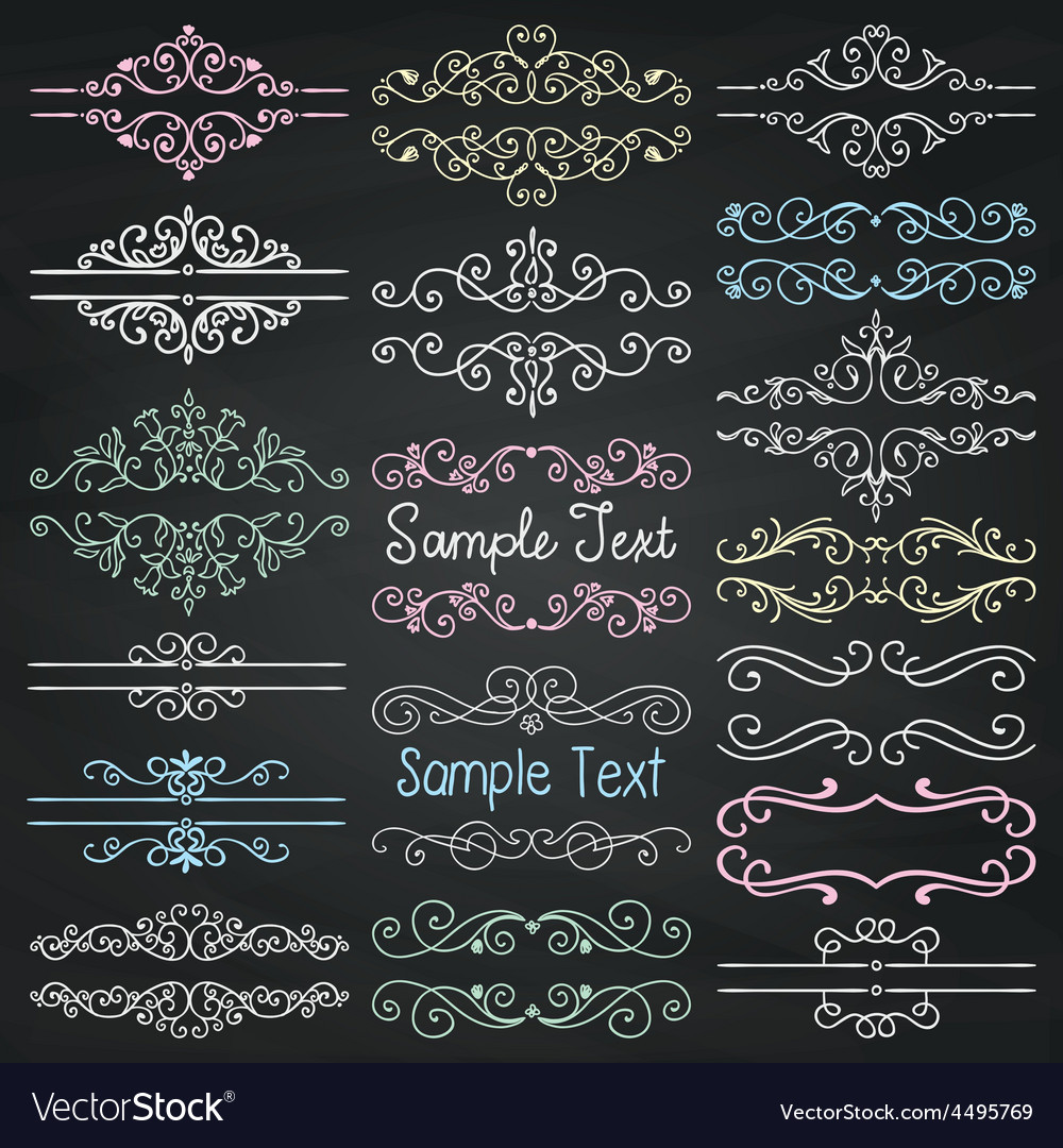 Colorful chalk drawing dividers frames vector | Price: 1 Credit (USD $1)