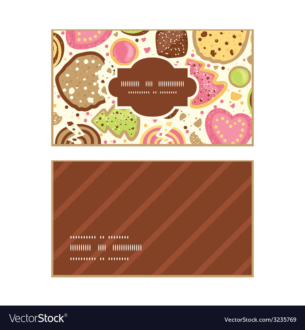 Colorful cookies horizontal frame pattern business vector | Price: 1 Credit (USD $1)