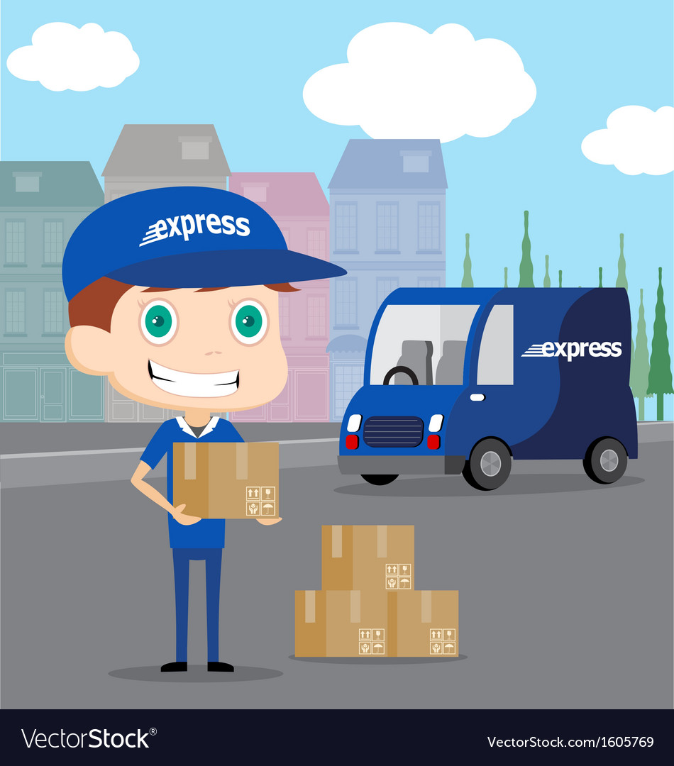 Express man and his truck vector | Price: 1 Credit (USD $1)