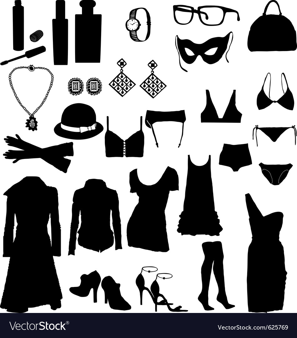 Female clothing silhouettes vector | Price: 1 Credit (USD $1)