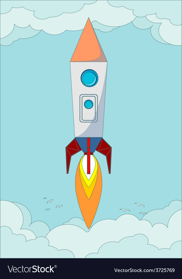 The rocket flight in the blue clear sky vector | Price: 1 Credit (USD $1)