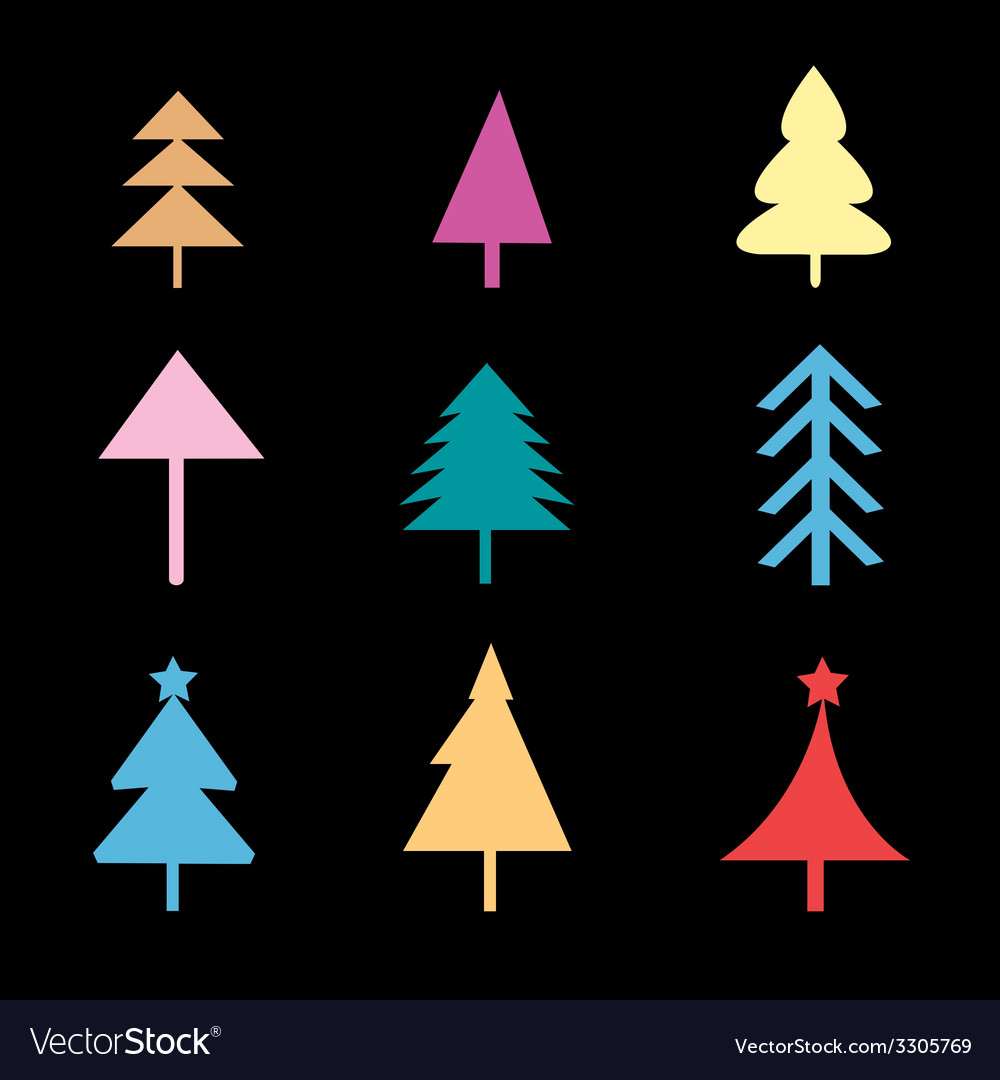 Set of different christmas trees signs vector | Price: 1 Credit (USD $1)