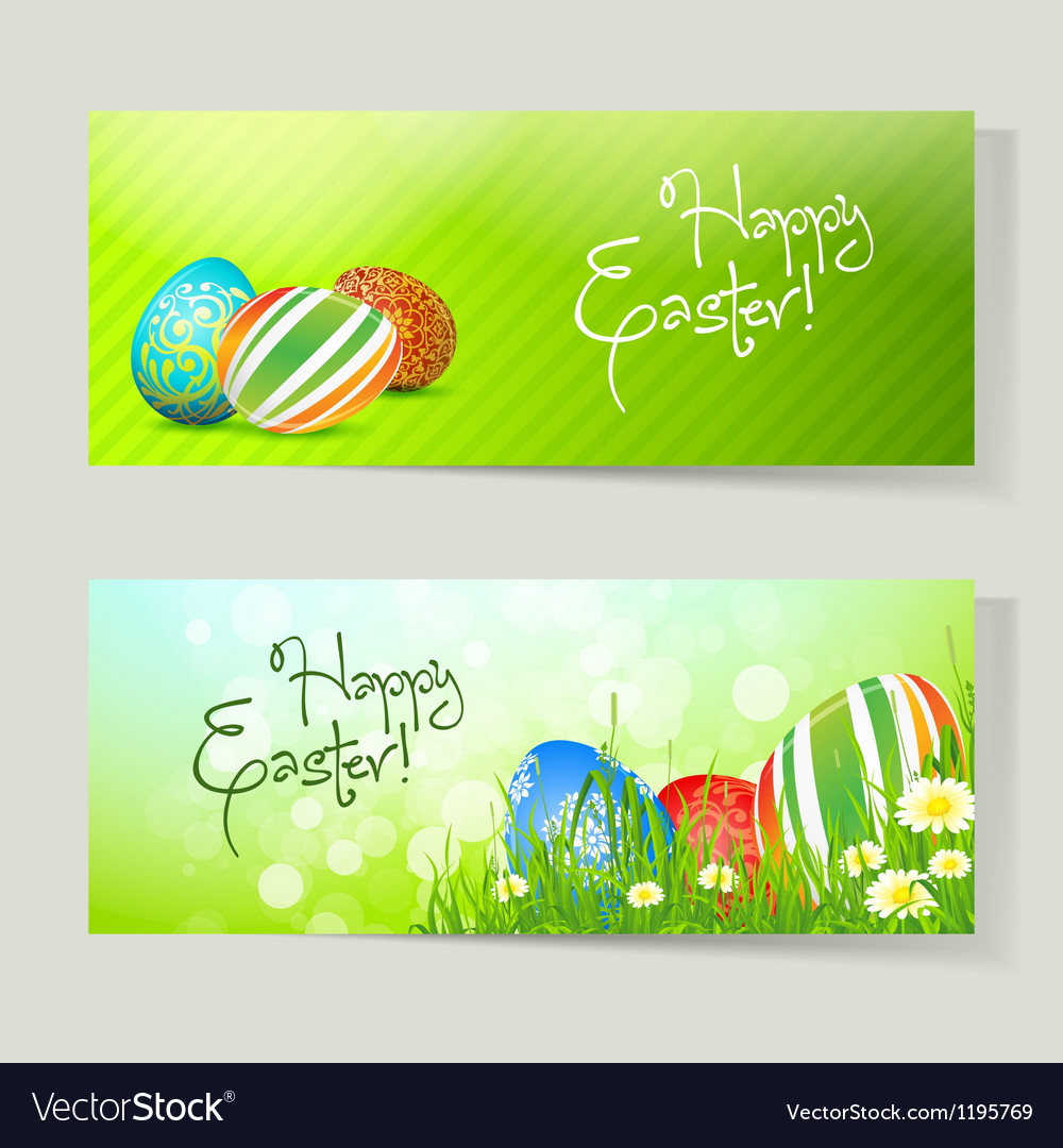 Set of easter cards with eggs vector   Price: 1 Credit (USD $1)
