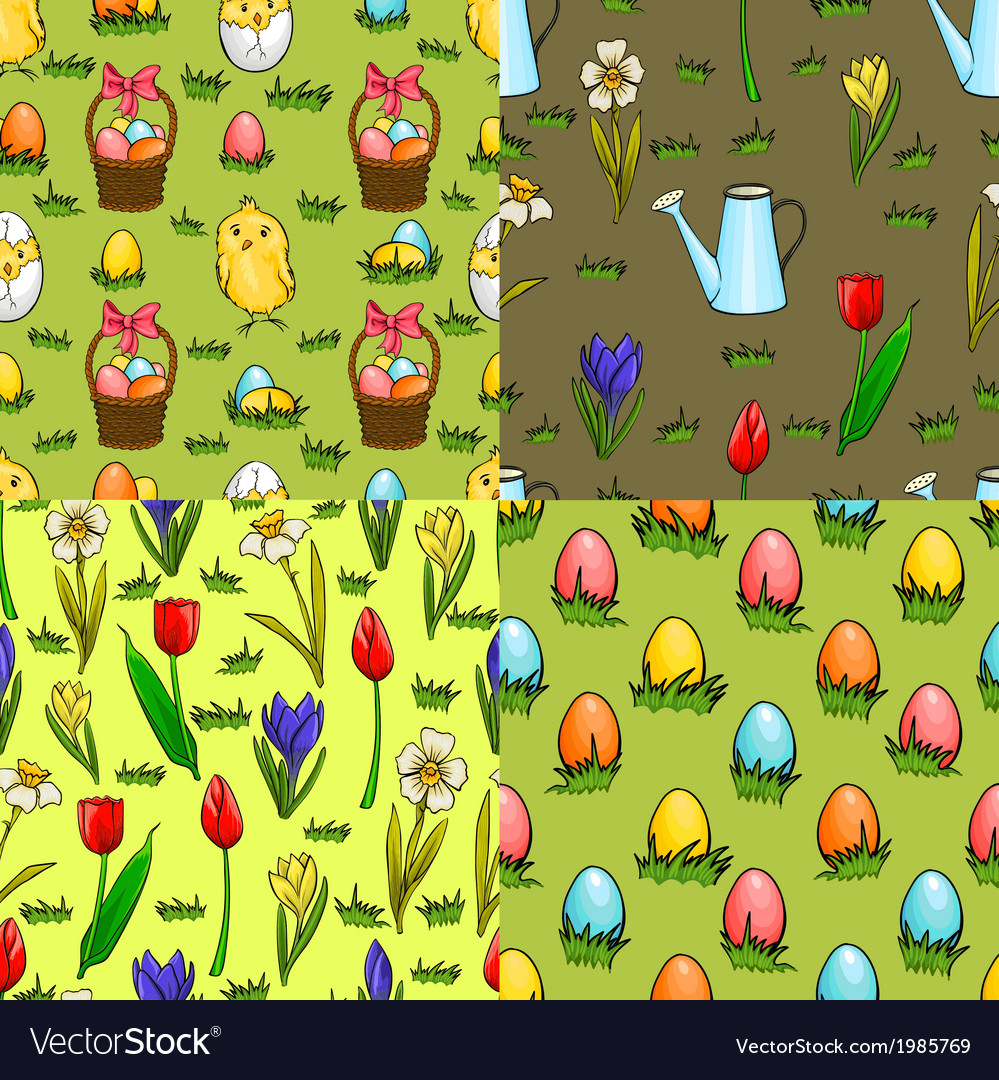 Set of four seamless patterns for easter vector | Price: 1 Credit (USD $1)