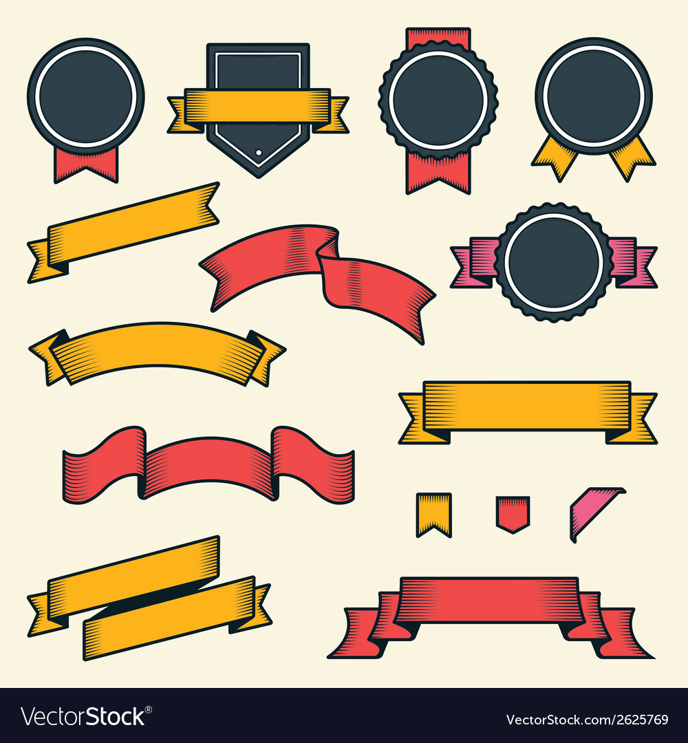 Set of vintage ribbons and labels vector | Price: 1 Credit (USD $1)