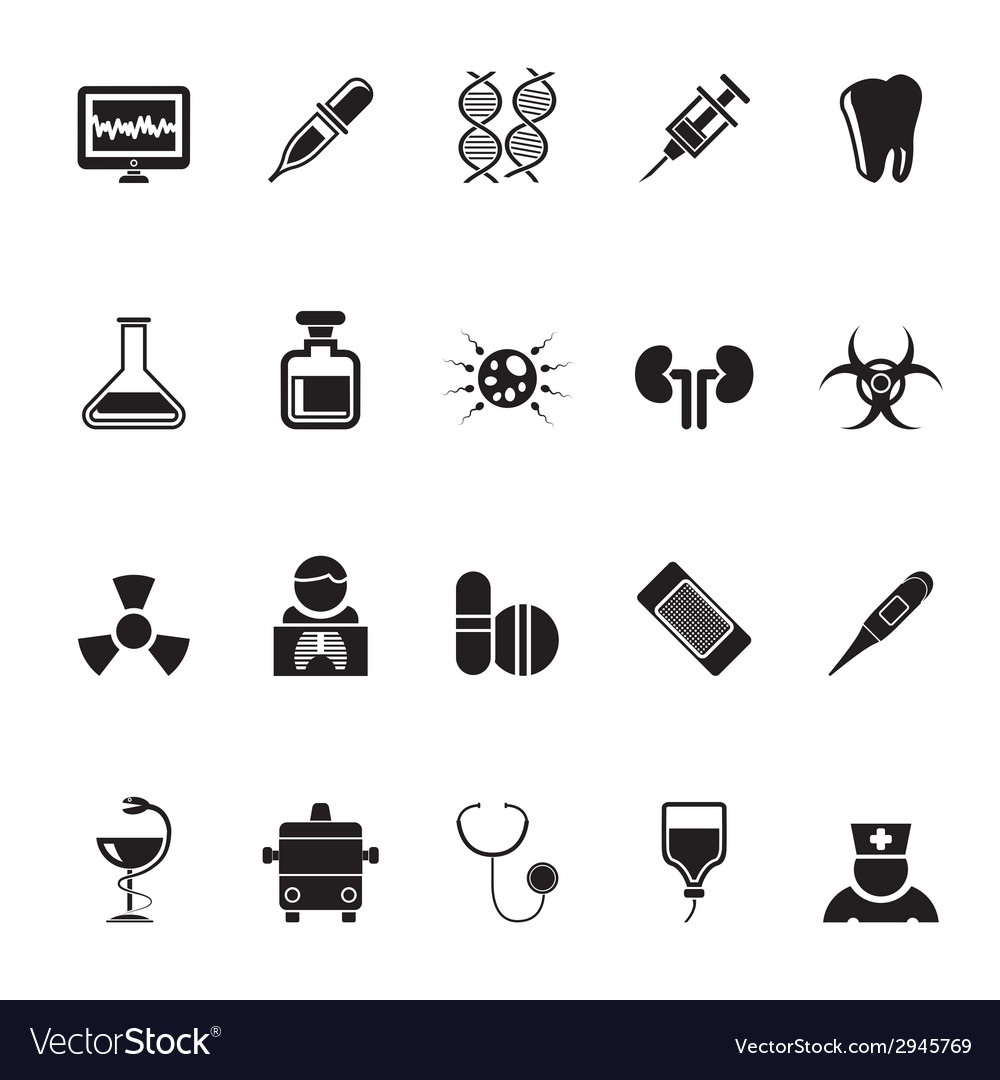Silhouette healthcare and hospital icons vector | Price: 1 Credit (USD $1)