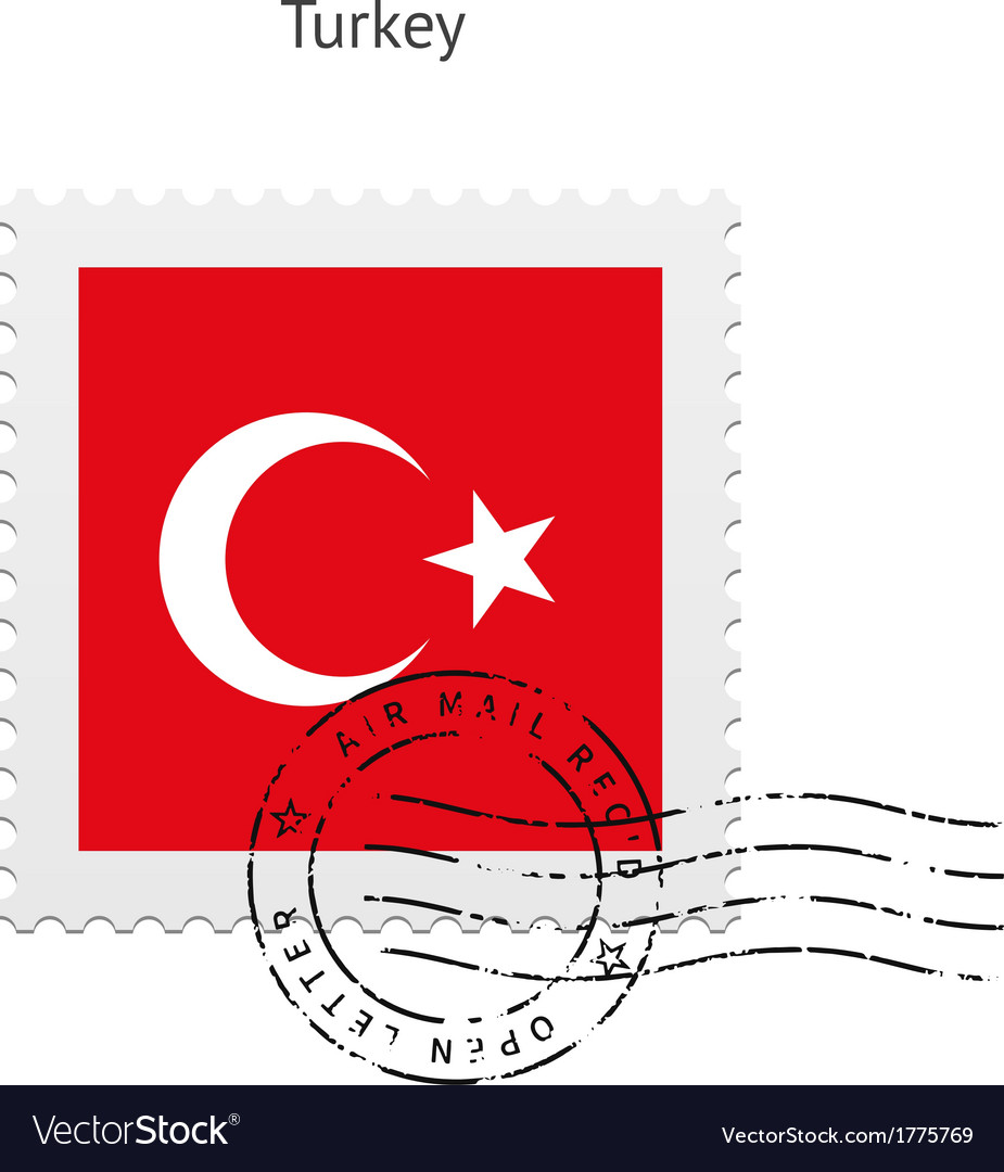 Turkey flag postage stamp vector | Price: 1 Credit (USD $1)